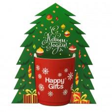 Коробка-украшение для чашки( D=9 см) в виде елки