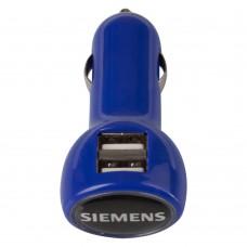 Автомобильное зарядное устройство с подсветкой Logocharger, синее