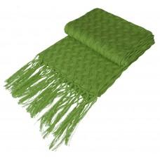 Палантин «Нежные листья», зеленый (оливковый)