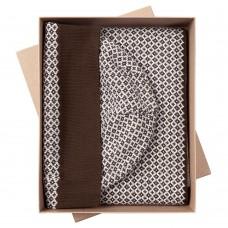 Набор Crown: шарф и шапка, коричнево-белый