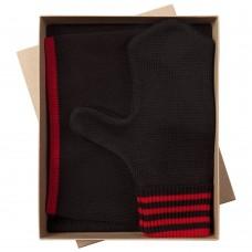 Набор Best: шапка, шарф и варежки, черно-красный