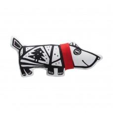 Игрушка «Собака в шарфе», малая, белая с красным
